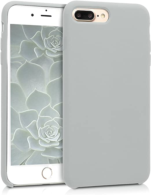 kwmobile TPU Silicone Case Compatible with Apple iPhone 7 Plus / 8 Plus - Case Slim Protective Phone Cover with Soft Finish - Light Grey Matte