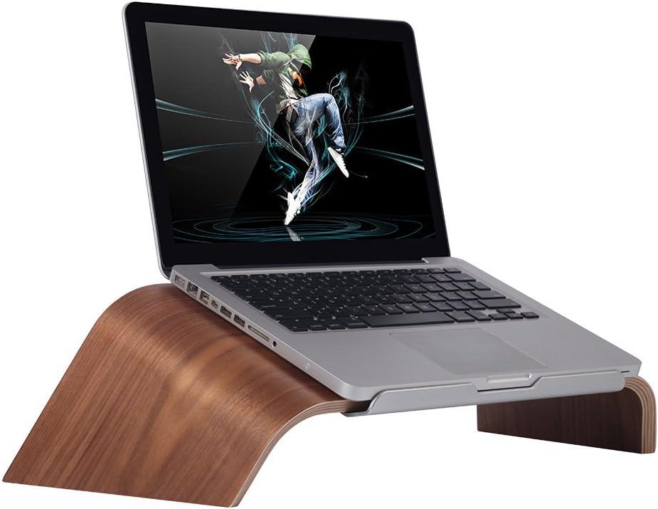 SAMDI Wood Laptop Stand, Gradient Oblique Holder Desktop Bracket Dock for Apple Air Pro, Notebook, Retina 11 12 13 15 and Other PC Notebook (Walnut)
