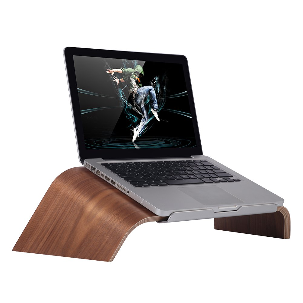 SAMDI Wood Laptop Stand, Gradient Oblique Holder Desktop Bracket Dock for Apple Air Pro, Notebook, Retina 11 12 13 15 and Other PC Notebook (Walnut)