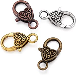 Artibetter Tibetan Antique Heart Lobster Claw Clasps Jewelry Making Findings 26x15mm Pack of 20pcs
