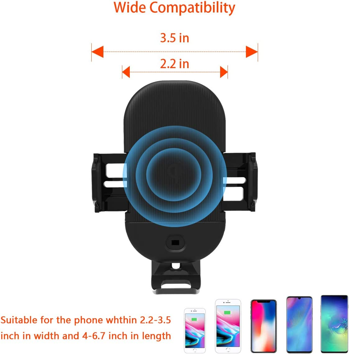 Samsung S10//S10+//S9//Note 9 and More Wireless Car Charger Mount Automatic Clamping 7.5W //10W Fast Charge Qi Car Phone Holder Air Vent Dashboard Compatible for iPhone Xs Max//XR//X//8//8 Plus