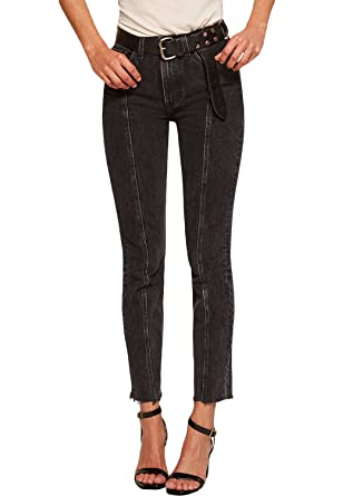 59d979acb2f Arainlo Retro Acid Wash High-Rise Denim Skinny Seam Jeans with Raw Hem at  Amazon Women s Jeans store