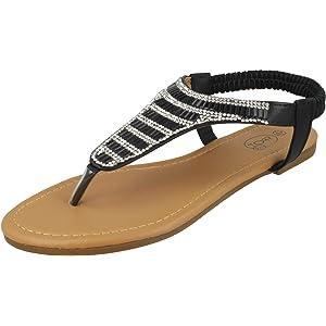 Ladies Spot On Mid Wedge Toe Post Sandals