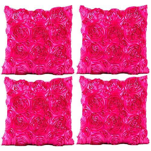 JOTOM Throw Pillow Covers for Sofa Bed Cushion, 3D Solid Color Silks Satins Rose Flower Romantic Love Cushion Covers for Wedding Party Home Decor Set of 4, 18'' x 18'' (Hot Pink)