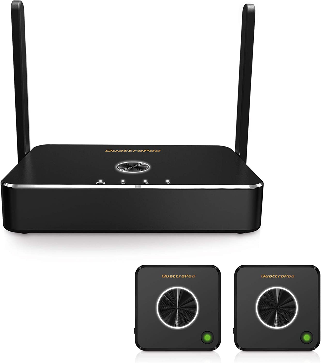 QuattroPod | 5G WiFi Wireless Presentation Facility HDMI Transmitter & Receiver for Streaming 4K from Laptop, PC, Smartphone to HDTV/Projector (2T1R)