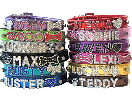 Bling Stuff For Fun TM - Metallic PU Leather Personalized Rhinestone Bling Dog Name Collar for Large, Medium, Small Dogs and Puppies (Silver, L: Neck Size 12.8