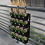 Trust Basket Vertical Gardening Pots with Metal Panel (Black) -16 Pcs