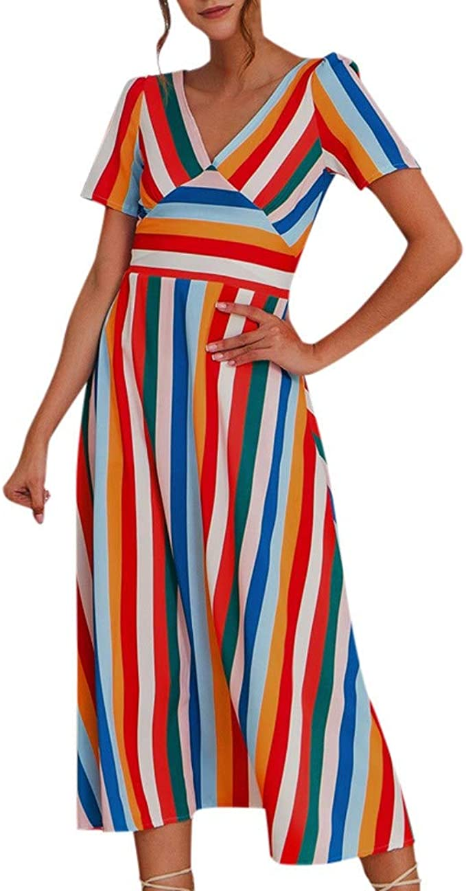 Vestiti Colorati Eleganti.Abito Donna Eleganti Day8 Vestiti Lunghi Donna Strisce Sciolte