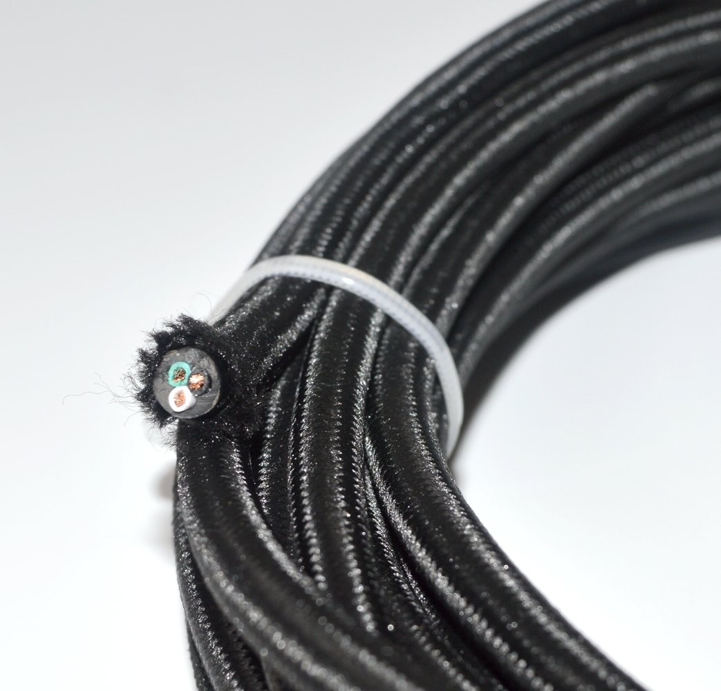 25 feet Farbic Wire Lamp Cord Fabric Wire Hanging Pendant Light Fixtures Great for Industrial Vintage Retro DIY Projects 18//3 Black Round Rayon Cloth Covered 3-Wire 18 Gauge Electric Cord