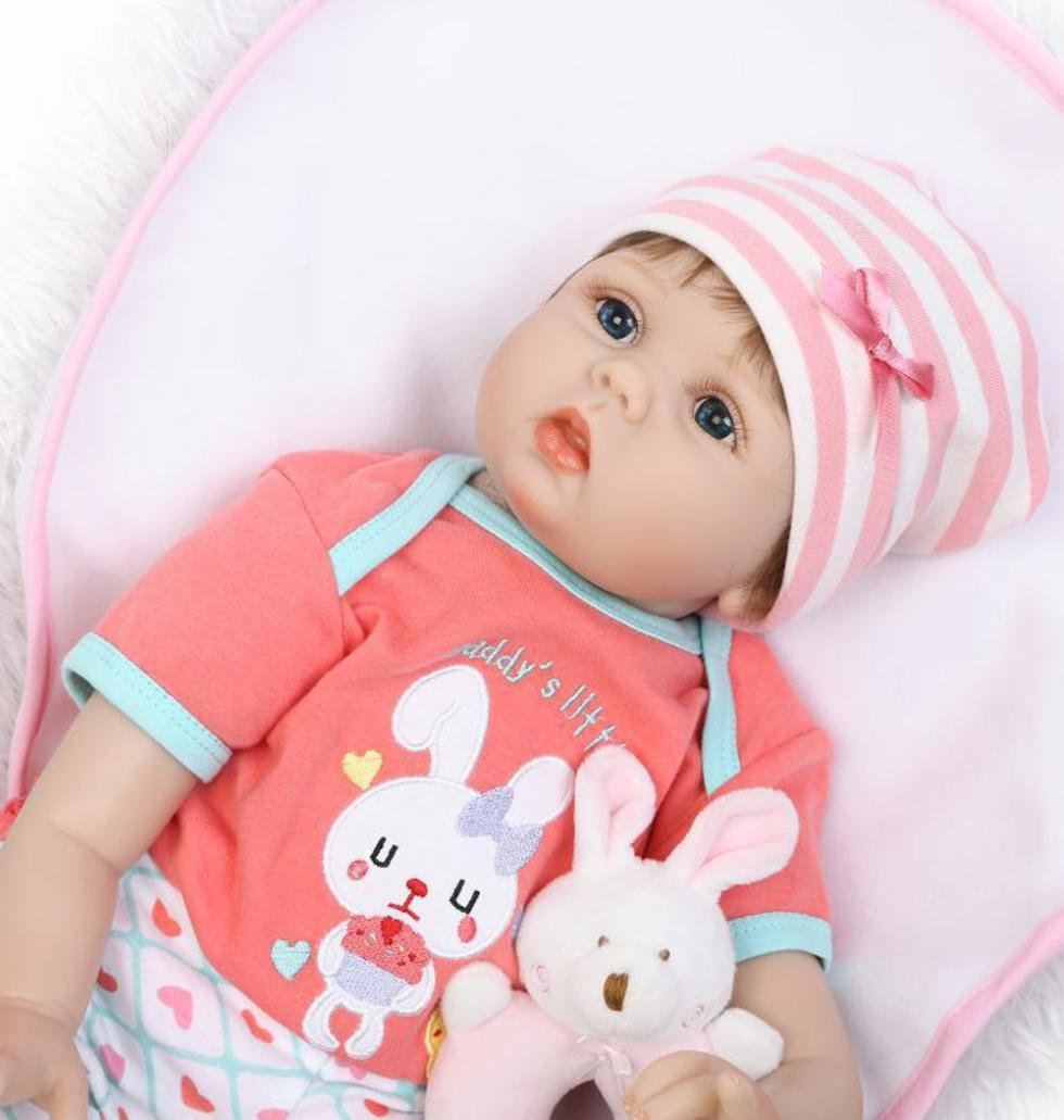 Dirance 22'' Lifelike Reborn Doll Soft Silicone Full Body Adorable Realistic Girl Playmate Doll Vinyl Reallike Handmade Newborn Baby Doll Outfits, Kids Gift for Ages 3+ (B) by Dirance (Image #5)