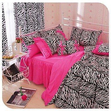 KOW Twin Zebra Leopard Juego de funda nórdica ropa de cama estampado de cebra rosa y