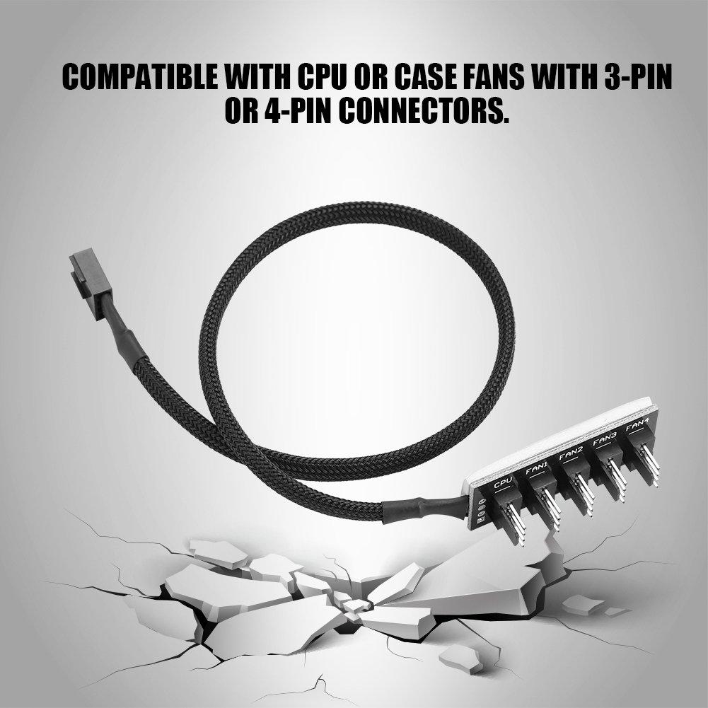 1 Hembra a 5 Macho PWM PC CPU Ventilador de refrigeraci/ón Divisor Adaptador Hub Cable Trenzado Negro Kafuty Concentrador de Ventilador de 4 Pines y 5 Puertos