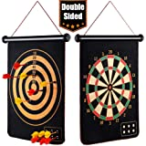 """EITPOTON Magnetic Dart Board for Kids, Indoor Outdoor Board Games Set, Kids Toys Gift for Boys Girls Age 5 6 7 8 9 10 11 12 13 14 15 16 Years Old (Black, 15"""") …"""