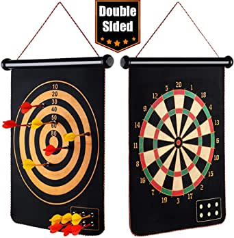 """EITPOTON Magnetic Dart Board for Kids, Indoor Outdoor Board Games Set, Kids Toys Gift for Boys Girls Age 5 6 7 8 9 10 11 12 13 14 15 16 Years Old (Black, 17"""") …"""