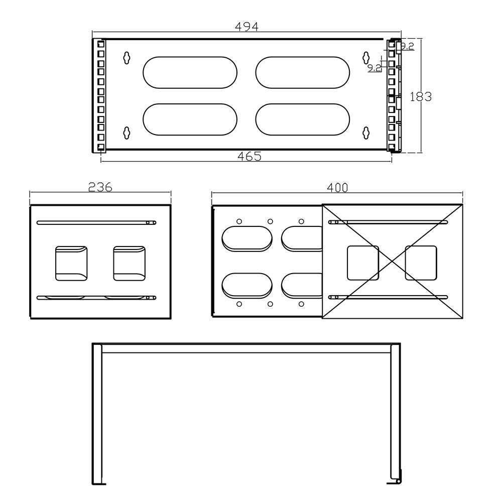 InLine/® 19 Rack for Wall Mounting 4U 24-40cm Depth Black