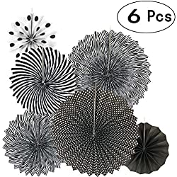 Black White Party Hanging Paper Fans Party Ceiling Hangings Baby Shower Birthday Wedding Halloween Party Decorations, 6pc