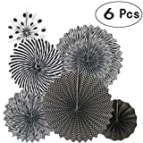 black and white decorations Black Hanging Paper Fans Decorations Ceiling Hangings Baby Shower Bachelorette Halloween Party Decorations, 6pc