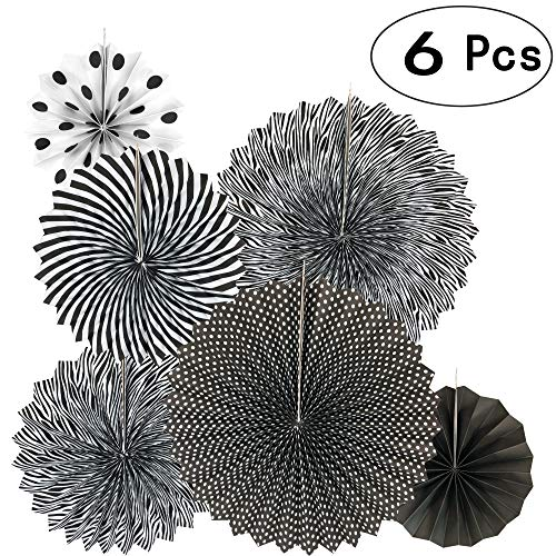 Black Hanging Paper Fans Decorations Ceiling Hangings Baby Shower Bachelorette Halloween Party Decorations, 6pc
