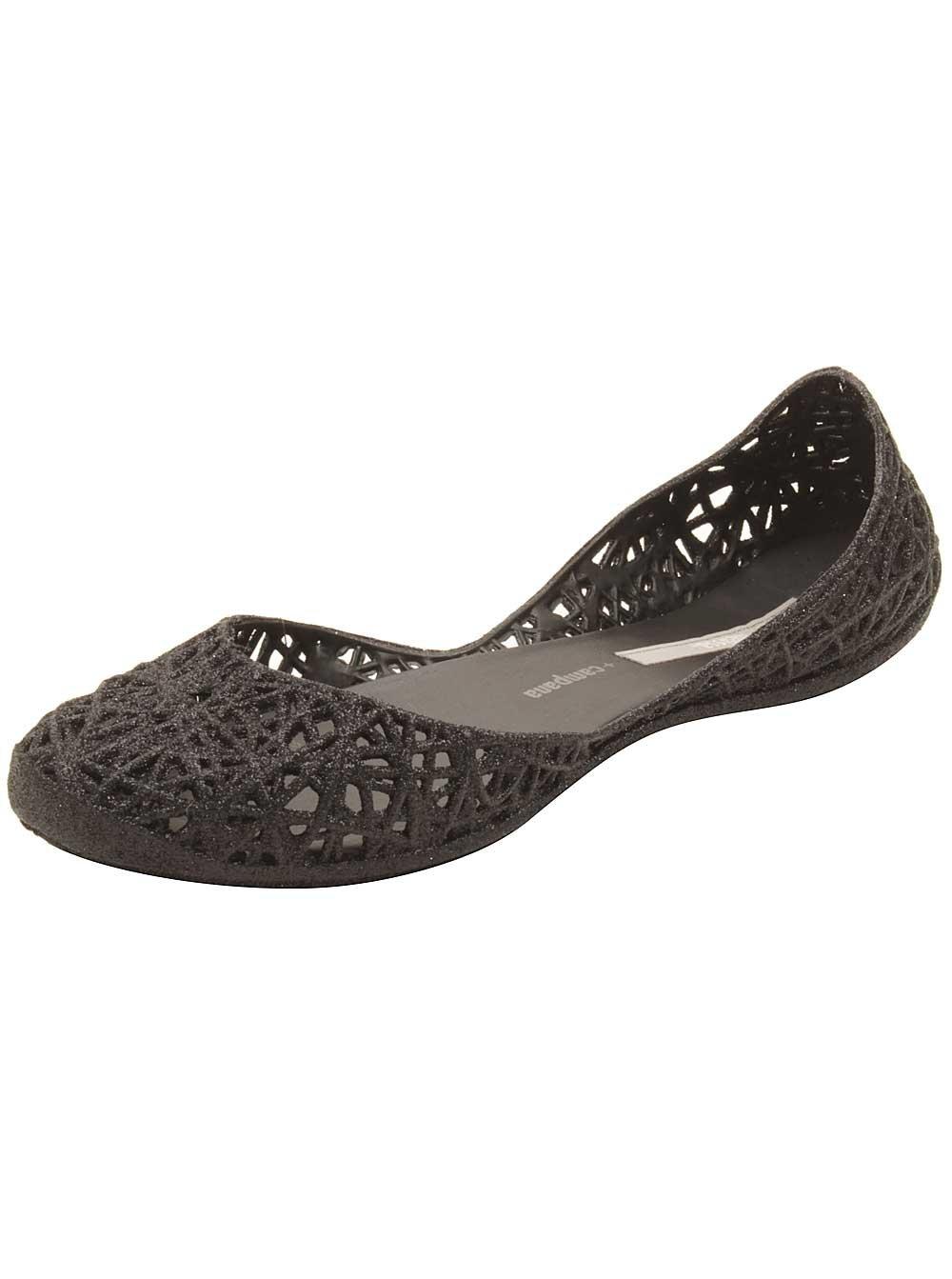 Melissa Women's Campana Zigzag Flat B01MTO4APE 10 B(M) US|Black Glitter