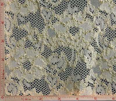"Dark Cream Beige Big Flower Scallop and Embroidery Lace Fabric 4 Way Stretch Nylon 43-44"""
