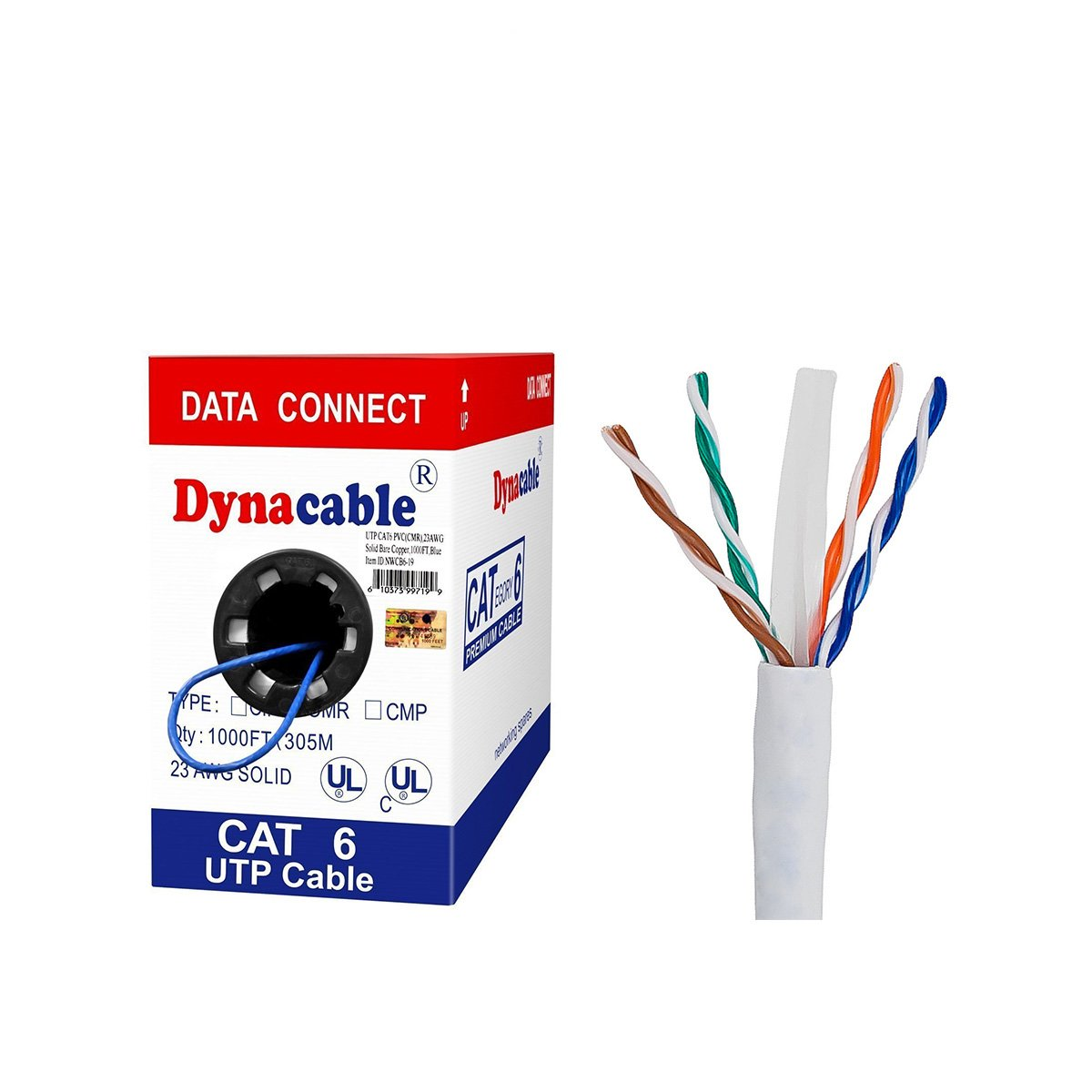 (UL-Listed) DynaCable Cat6, In-Wall Rated (CM) Solid Bare Copper Bulk Ethernet Cable 1000 Feet, 550MHz 23 AWG Unshielded Twisted Pair, UTP, White