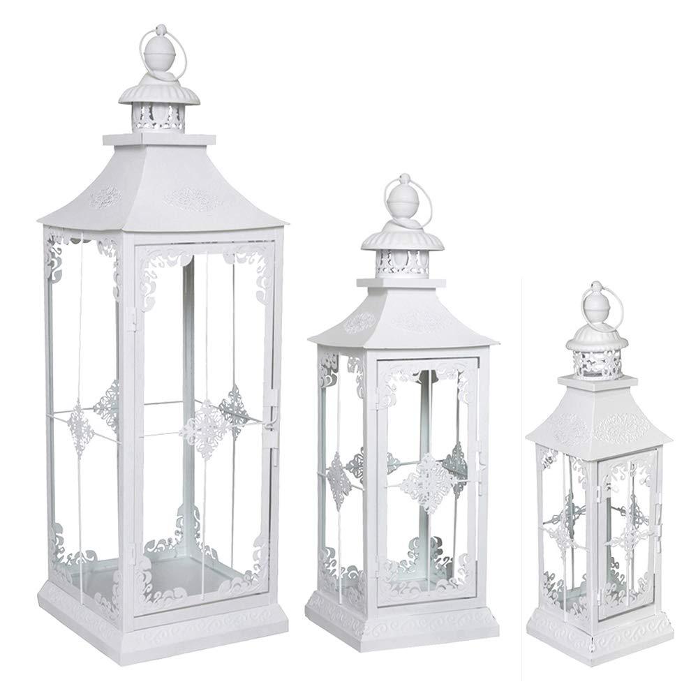 Grafelstein, set di 3 lanterne in stile shabby chic, ideali per conferire un look country alla casa, bianco antico.