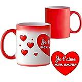 Mug magique avec motiv romantique - Inscription Je t'aime mon amour - Mug magique - Tasse change le couleur - Gobelet - Tasse de thé Tasse de café - Cadeau romantique - cadeau Saint-Valentin