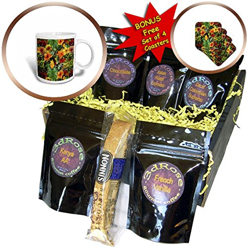 3dRose Uta Naumann Pattern - Aloha Tropical Bird Fruits and Hibiscus Palm Jungle Hawaii Pattern - Coffee Gift Baskets - Coffee Gift Basket (cgb_266994_1) by 3dRose