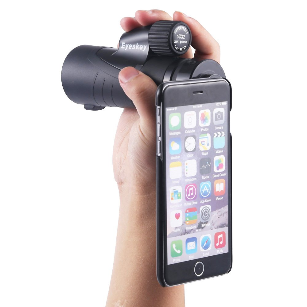10x42 Waterproof Monocular With Side Hand Strap,a Tripod,an Adapter For Your iPhone6Plus and iPhone6sPlus(Not 6 or 6S)