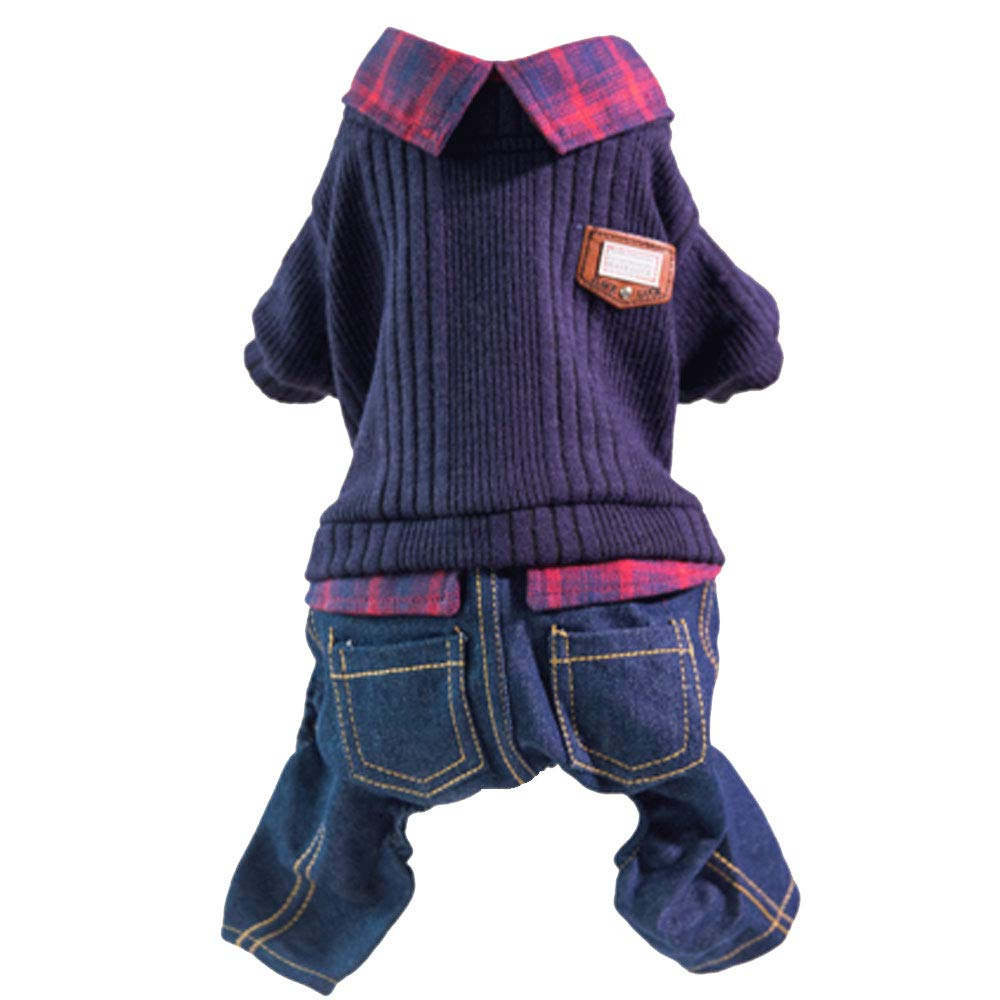 bluee XL ( weight 5.5-6.5 kg Inside) bluee XL ( weight 5.5-6.5 kg Inside) GJFeng Fashion Fake Two-Piece Pet Dog Clothes Autumn Clothes Teddy Clothes Spring and Autumn Thin Section Than Xiong Bomei Puppy Autumn and Winter Clothing New On The New