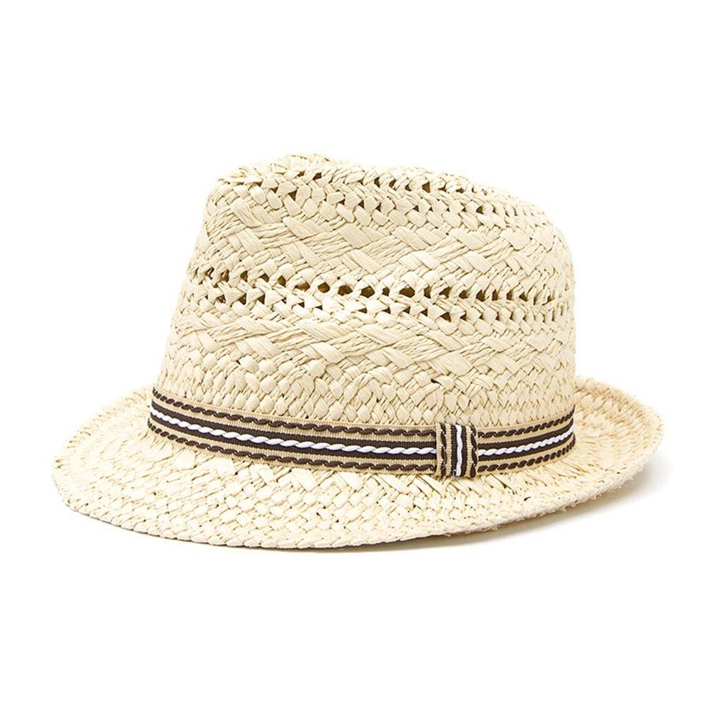 HHF Hats & Caps 100% Handwork Child Summer straw Sun hat Boy Girl Boho Beach Fedora hat Panama Hat Size 54CM (Color : Natural, Size : 52-54CM)