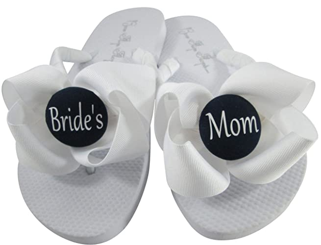 eb953ec3641f9 Image Unavailable. Image not available for. Color  White with Black Buttons  and Bows - Mom of Bride Flip Flops