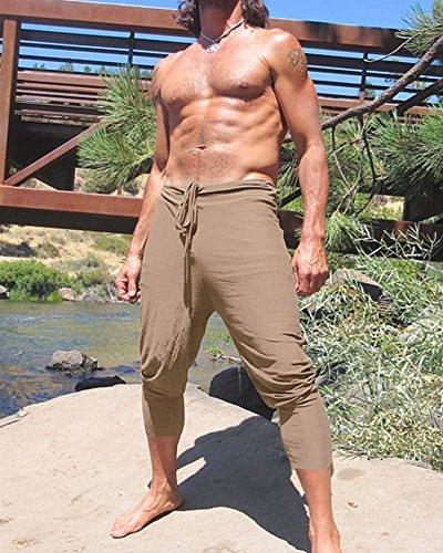 Cordón Bermuda Moda Cintura Caqui Pantalón Jogging con Pantalones Gym Cómodo Tomwell Pantalones Cortos Elástica Hombre Running wqIxz4