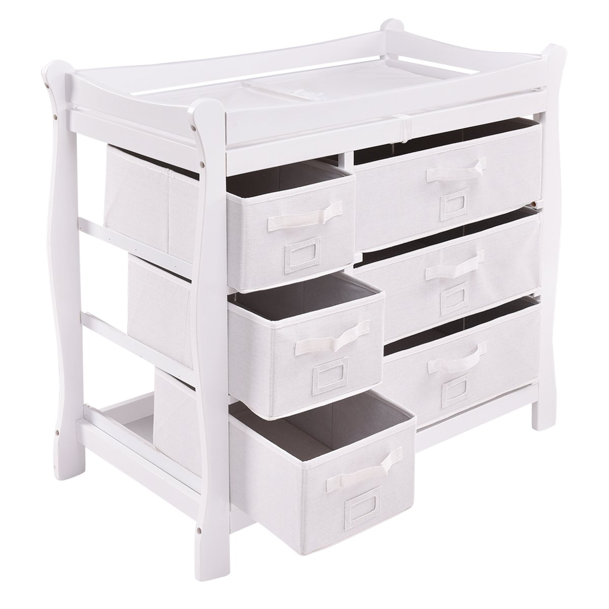 Costzon Baby Changing Table Infant Diaper Nursery Station w/6 Basket Storage Drawers (White) by Costzon (Image #9)