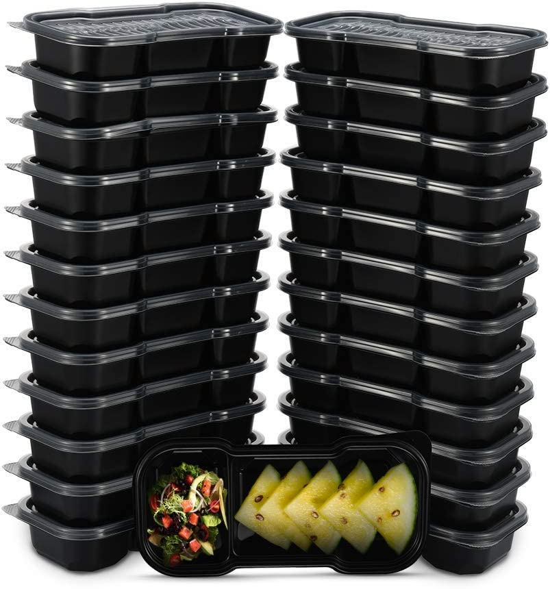 OTOR 25 Sets Meal Prep Containers 16OZ 2 Compartments with Clear Airtight Lids Food Storage Container Stackable Reusable Bento Boxes Travel Containers BPA Free Dishwasher,Microwave,Freezer Safe