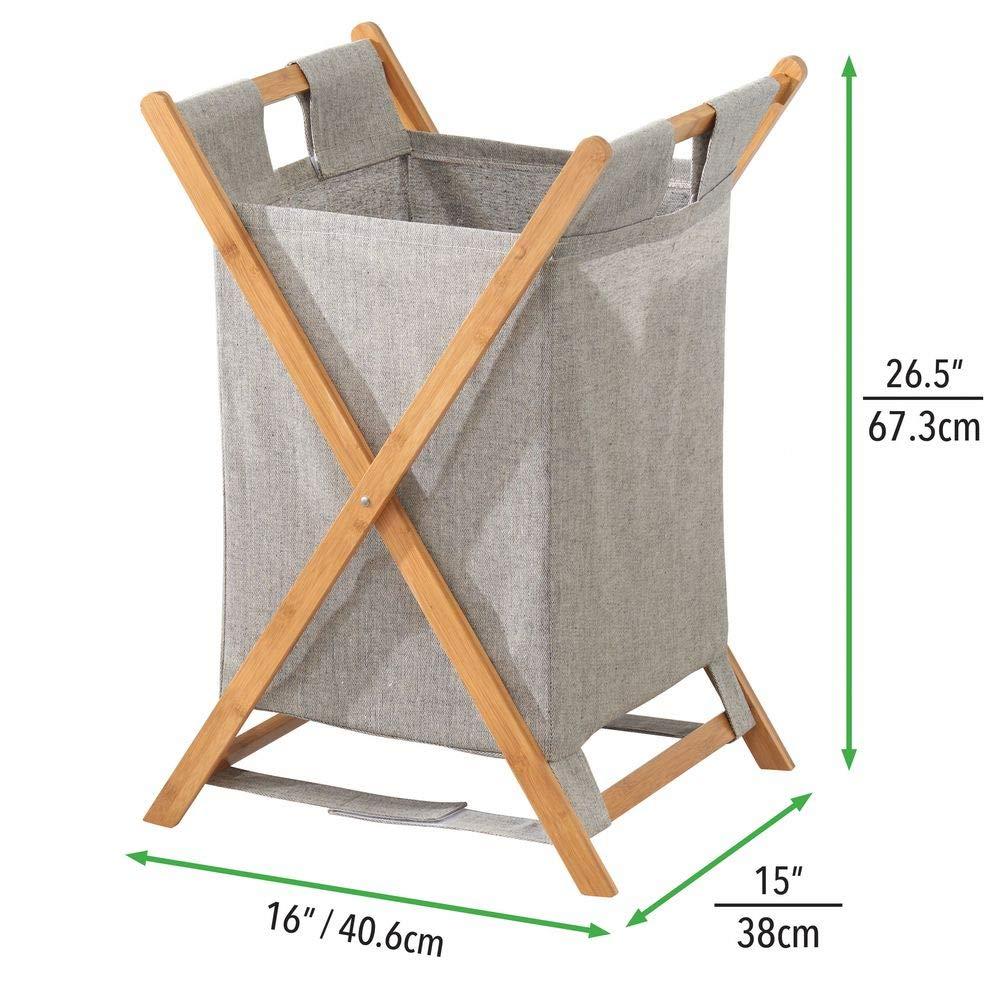 Mueble con cesto para Ropa Sucia extra/íble MetroDecor mDesign Cesto Plegable para Ropa Sucia Color bamb/ú Bolsa para la Colada port/átil Organizador de ba/ño de bamb/ú y poli/éster