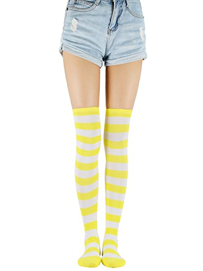 902cd6958 Over Knee Long Tube Socks Casual Striped Thigh High Tights Athletic  Stockings Stretchy One Pair Skirt