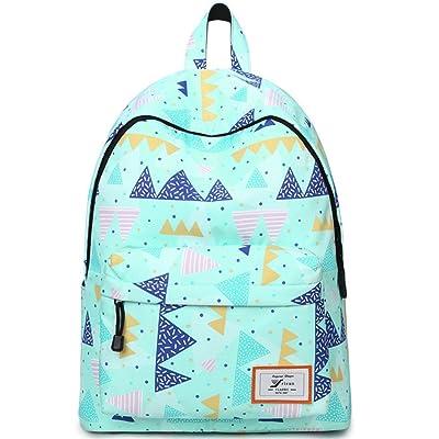 delicate Water Resistant School Backpack for Teens, Cute Geometry Laptop Bag  Girls Bookbag (Green 780b11713c