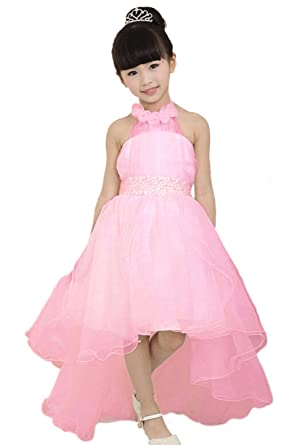 Mamas-Kiddy Cute Asymmetric Halterneck Solid Mesh Long Tail Flower Girl Dress Pink 110cm