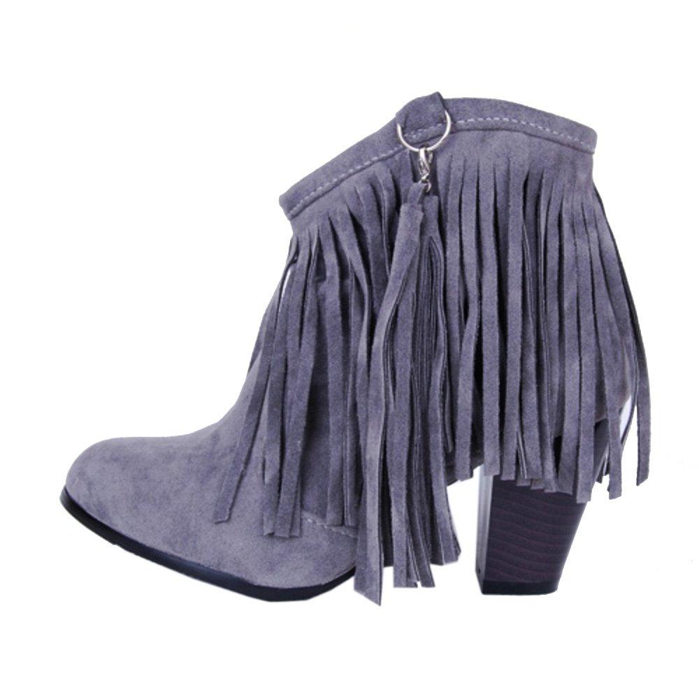 TAOFFEN Damen Retro Blockabsatz Kurze Stiefel Knoechel Stiefel Mit Quasten Grau
