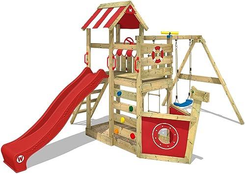 WICKEY Parque infantil de madera SeaFlyer con columpio y tobogán rojo, Casa de juegos de jardín con arenero y escalera para niños: Amazon.es: Bricolaje y herramientas