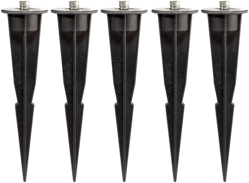 Parlat Estaca de jardín de plástico Negro para lámparas, 3 UDS ...