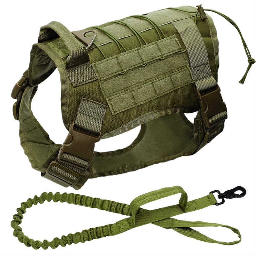 MCYYY Pettorina per Cani Tattica Militare K9 Gilet per Cani da Lavoro Cintura Elastica in Nylon Cintura di addestramento al Piombo per Pettorina per Cani di Taglia Media Grande da 66 a 90 cm Nero