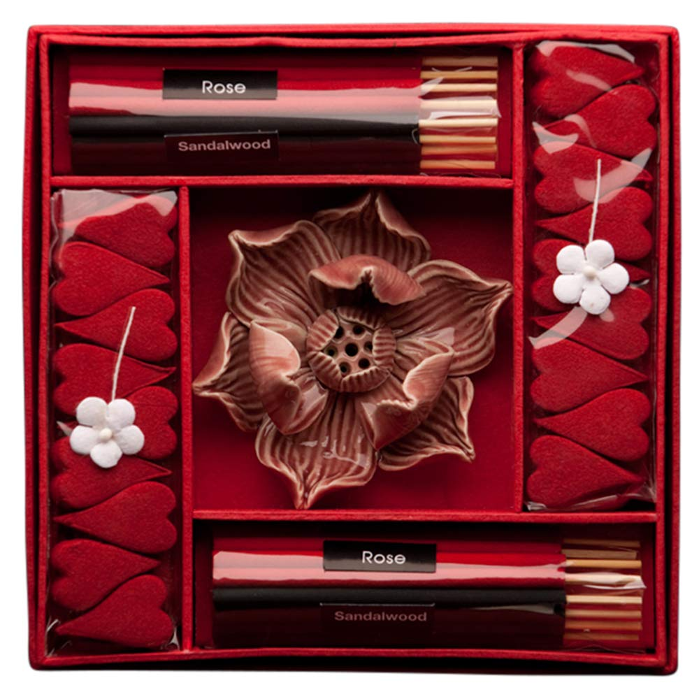 Blaze On® Haute Couture Hand-Crafted Brown Lotus Incense & Candle Gift Set