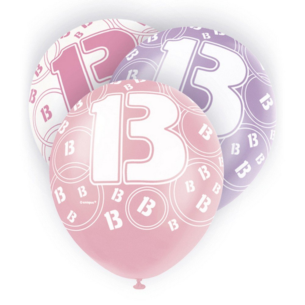 Unique Party 12 Inch 13th Birthday Balloons (Pack Of 5) (One Size) (White/Purple/Pink) UTSG5972_1