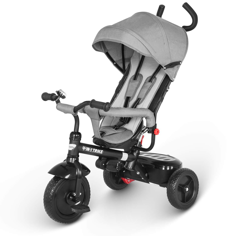 besrey Kids Tricycle 4 in 1 Baby Trike with Steering Handle N Safety Belt - Gray