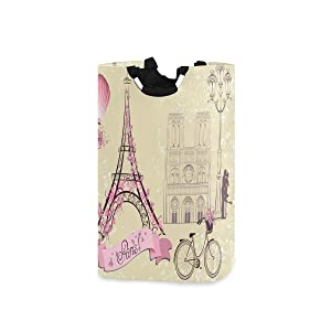 Paris Eiffel Tower Street Lamp Large Laundry Baskets Washing Hamper Bag Pink Hot Air Balloon Bike Dirty Clothes Storage Bin Toy Book Clothing Holder with Handles for Home Bathroom Bedroom 50L