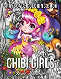 Chibi Girls: A Grayscale Coloring Book with Adorable Kawaii Characters, Lovable Manga Animals, and Delightful Fantasy Scenes