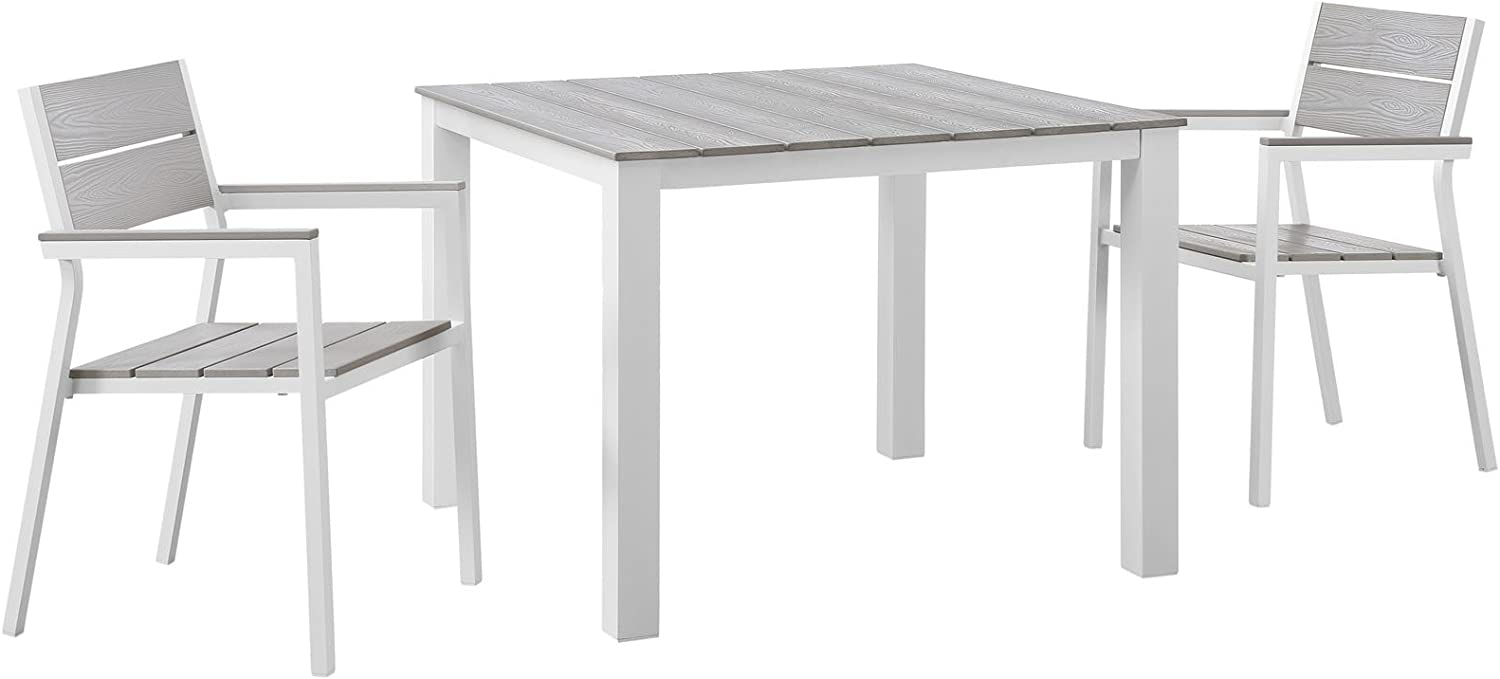 """Modway Maine Aluminum 3-Piece Outdoor Patio Dining Set with 39"""" Dining Table and Two Dining Armchairs in White Light Gray"""
