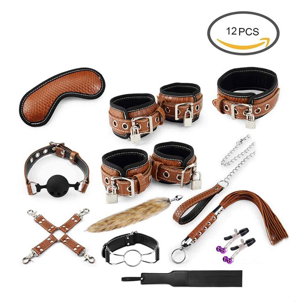 ボンテージベッド縛り12個セット, 調整可能 SM レザー素材 Brown 大人セックスおもちゃ着用拘束フェチカップルのためのセットセックスゲーム初心者, B07PM5M7DX ぬいぐるみ & レザー素材 Brown B07PM5M7DX, TENSHODO:b5218555 --- krianta.com